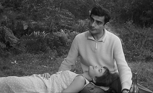 Jacques (Charles Denner) would rather be somewhere else than the country in this scene from Alain Jessua's Life Upside Down (1964). Anna Gaylor plays his wife Viviane.