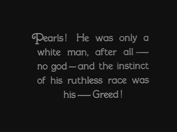 An intertitle card from White Shadows in the South Seas (1928)