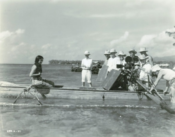 Raquel Torres on the set of White Shadows in the South Seas (1928)