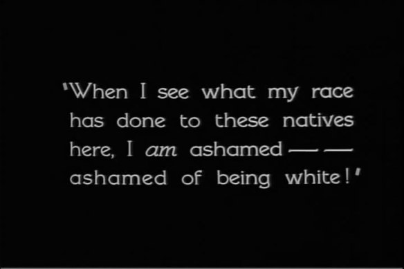 An example of an intertitle card from White Shadows in the South Seas (1928) which spells out the film's moral