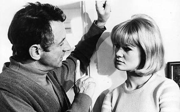 Director Clive Donner with Judy Geeson on the set of Here We Go Round the Mulberry Bush (1967)
