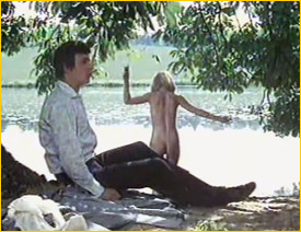 Judy Geeson goes skinny-dipping as Barry Evans prepares to join her in Here We Round the Mulberry Bush (1967)
