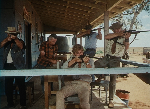 Hunting and drinking are the main activities in the Outback as depicted by director Ted Kotcheff in the bleak, psychological drama Wake in Fright (1971)