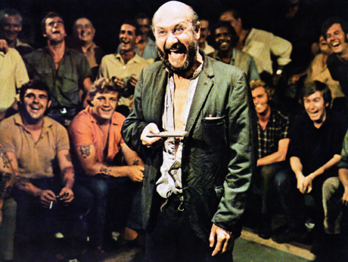 Donald Pleasence places his bet in a gambling den in Wake in Fright (1971)