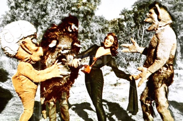 A rare color still of Beta (Lorena Veláquez) and her monster posse in La Nave de los Monstruos (1960)