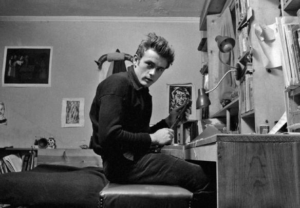 James Dean in his apartment on West 68th Street, New York City, 1955.