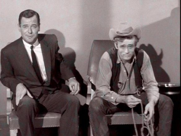 Gig Young and James Dean appear in a highway safety promo