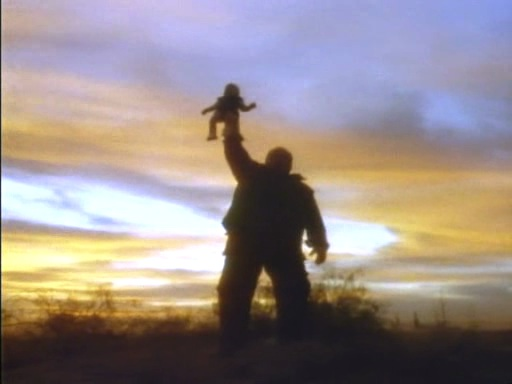 Sleu (Paul L. Smith) claims ownership of a kidnapped child in Soony Boy (1989)