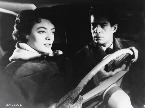 Maggie Smith and George Nader in the film noir, Nowhere to Go (1958)