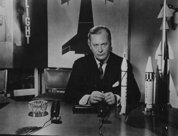 Curd Jurgens as scientist Wernher von Braun in the biopic, I Aim at the Stars (1960)