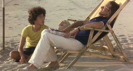 A father (Francois Simon, right) and son (Giovanni Rosselli) realize that their beach resort vacation is a bad idea in Corpo d'amore (1972).