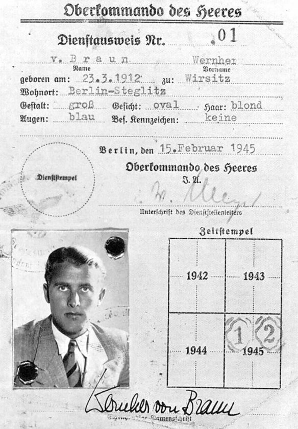The real Wernher von Braun's identification card