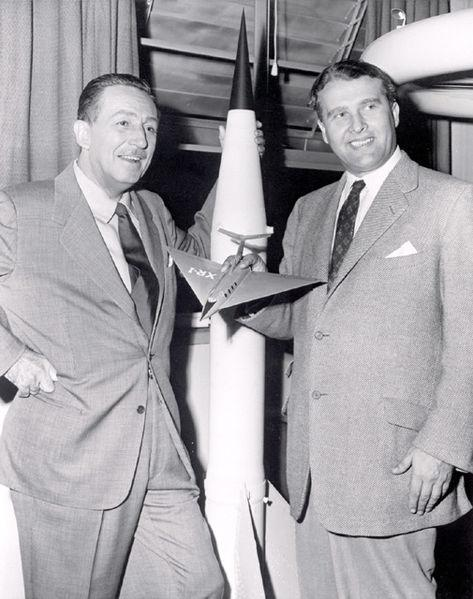 Walt Disney & the real Wernher von Braun (right) circa 1955