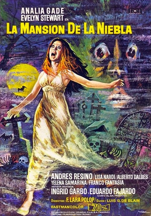The Italian film poster for the 1972 horror thriller Maniac Mansion, one of Evelyn Stewart's many Italian genre films.