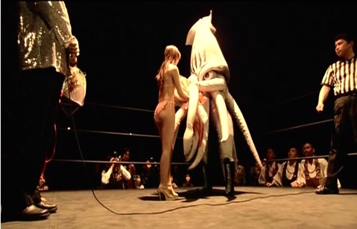 The Calamari Wrestler parodies the rituals of the ring and everything else.