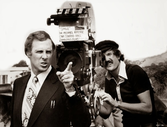 On the set of Smile (1975) with director Michael Ritchie (right, background) and Bruce Dern