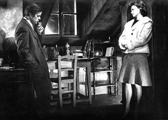 Klaus Kinski is a mysterious refugee and Brigitte Grothum is a farmer's daughter who gives him refuge in Der Rote Rausch (1962).