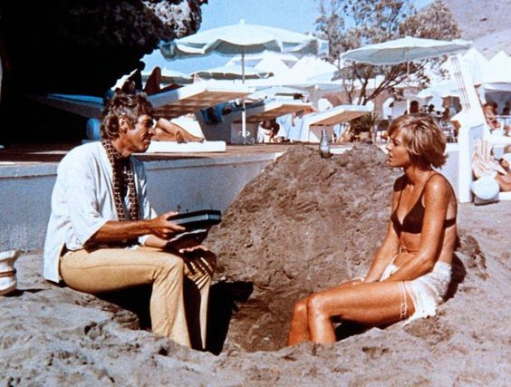 James Coburn & Susannah York on the coast of Southern Spain in Duffy (1968), directed by Robert Parrish.