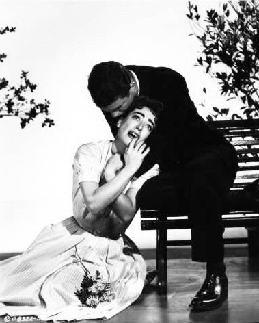 Joan Crawford and Cliff Robertson have a traumatic love affair in Autumn Leaves (1956).