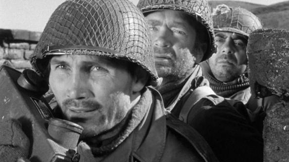 (From left to right) Jack Palance, Buddy Ebsen and Robert Strauss star in Robert Aldrich's WW2 drama, Attack (1956).