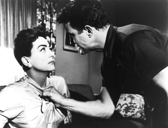One of the more intense encounters between Joan Crawford and Cliff Robertson in Robert Aldrich's melodrama, Autumn Leaves (1956).