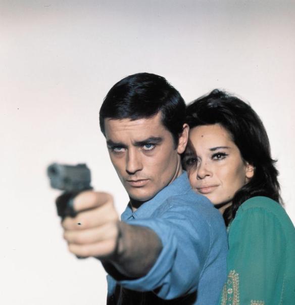 A publicity still of Alain Delon and Lea Massari in Alain Cavalier's L'Insoumis (1964).
