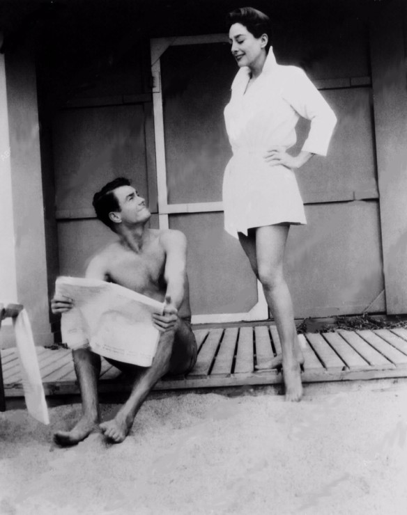 Joan Crawford invites Cliff Robertson for a swim in the ocean in Autumn Leaves (1956) featuring the famous theme song by Nat King Cole.
