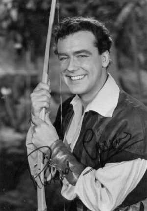Actor Richard Greene as a Sherwood Forest legend in the 1955 TV series, The Adventures of Robin Hood.