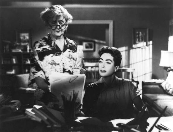 Ruth Donnelly (left) and Joan Crawford are featured in a scene from Robert Aldrich's psychological soap opera, Autumn Leaves (1956).