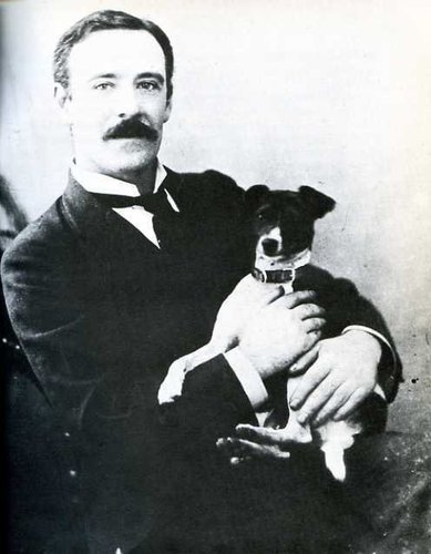 Cinema innovator William Friese-Greene and his dog