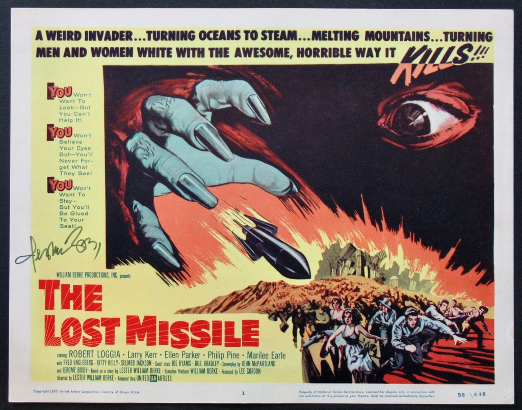 The Lost Missile film poster, 1958